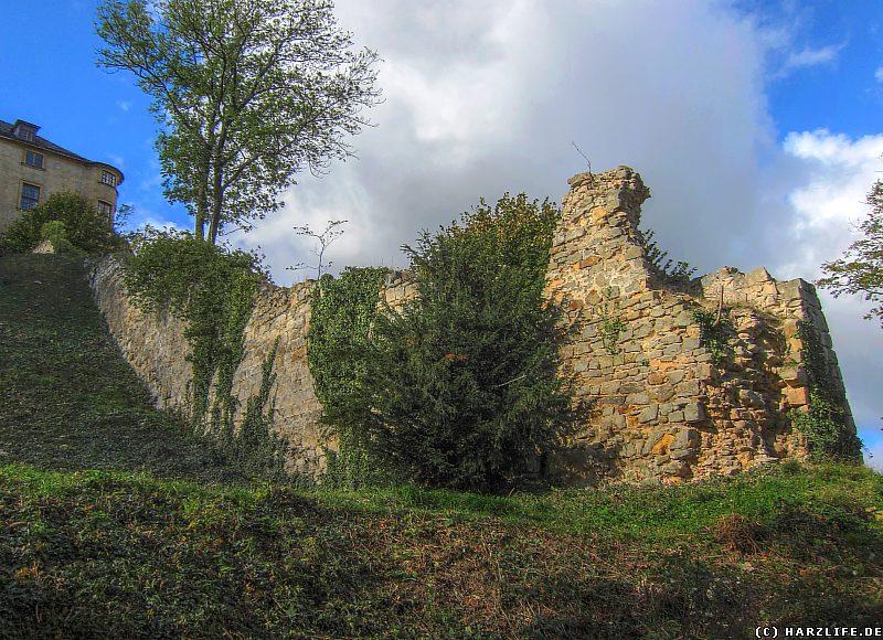 Blick vom Schloßpark zur Stadtmauer von Blankenburg