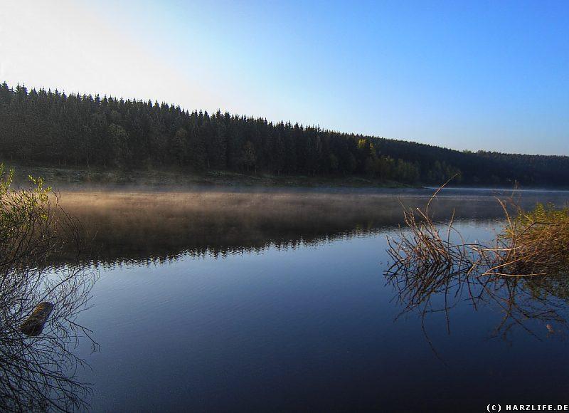 Morgennebel über dem Mandelholzstausee