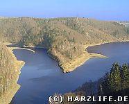 Blick auf den Stausee der Talsperre Wendefurth
