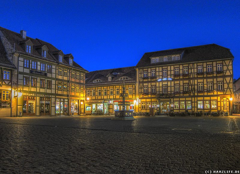 Der Wernigeröder Marktplatz bei Nacht