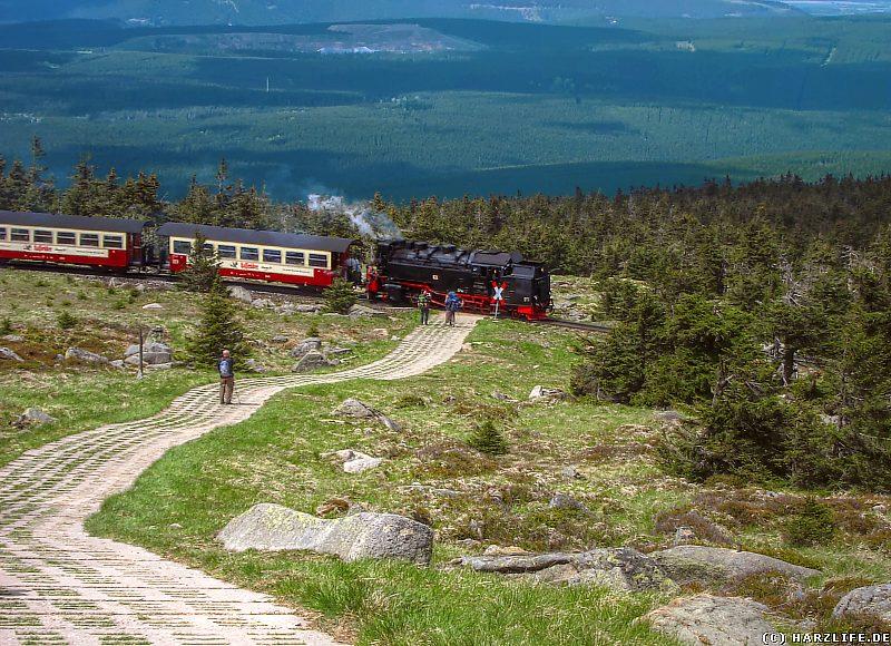 Die Brockenbahn kreuzt den Heinrich-Heine-Wanderweg