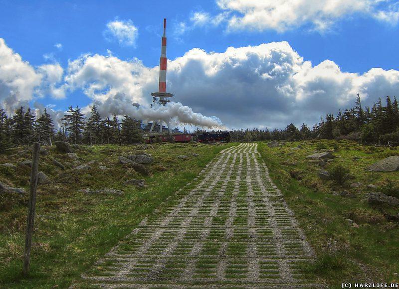 Hirtenstieg mit Blick zum Brockengipfel und zur Brockenbahn