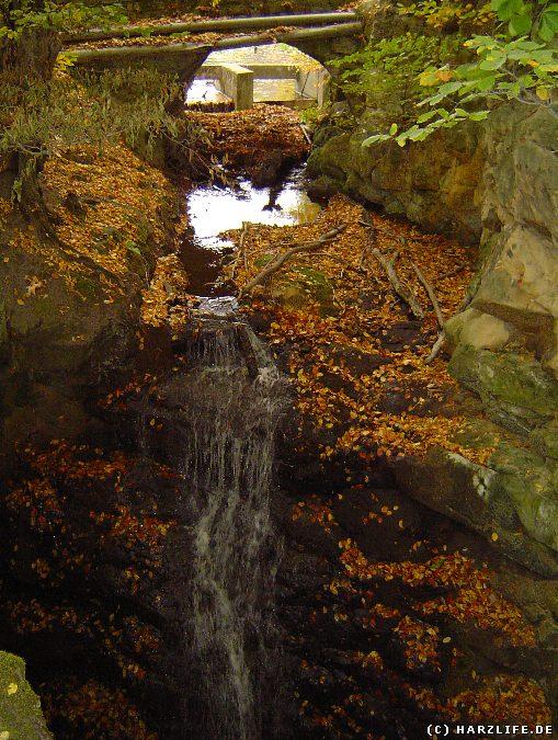 Wasserfall an der Ausflut des Mönchemühlenteiches