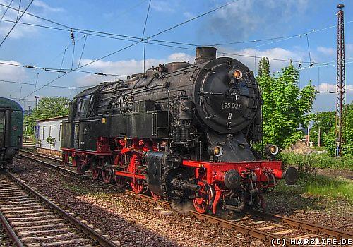 Dampflok Bergkönigin auf dem Blankenburger Bahnhof