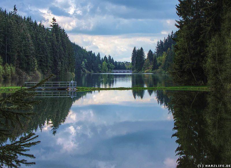 Die Talsperre Neustadt - Blick von der Stauwurzel über den Stausee