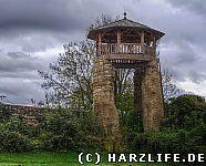 teilrekonstruierter Wachturm der Stadtmauer