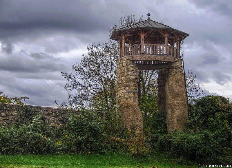 Ein teilrekonstruierter Wachturm der Stadtmauer in Ellrich