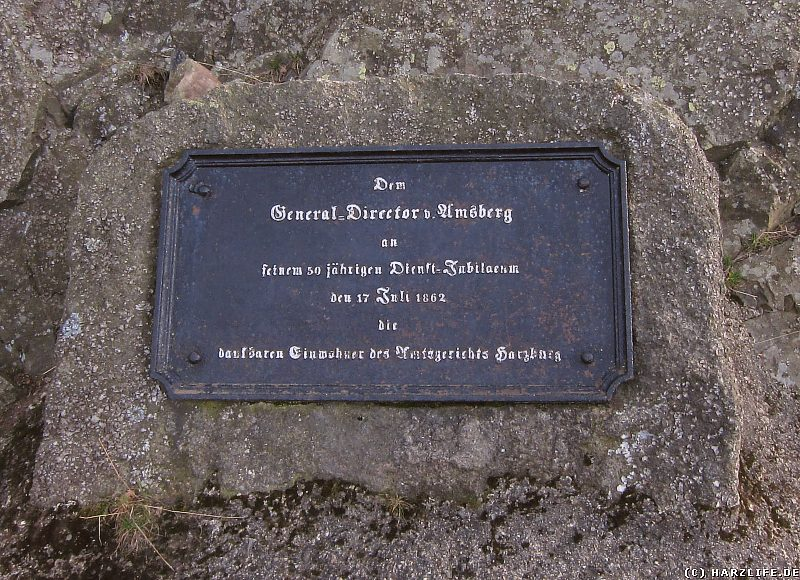 Die Gedenktafel für den General-Director v. Amsberg