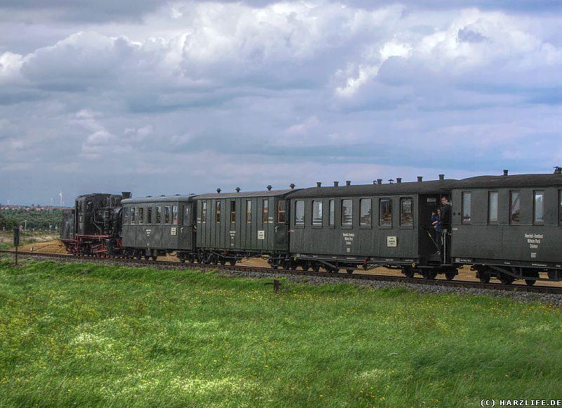 Die Bergwerksbahn fährt vom Bahnhof Siersleben weiter in Richtung Hettstedt